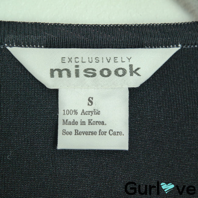 Misook Size S Black Knit Full Zip Sweater