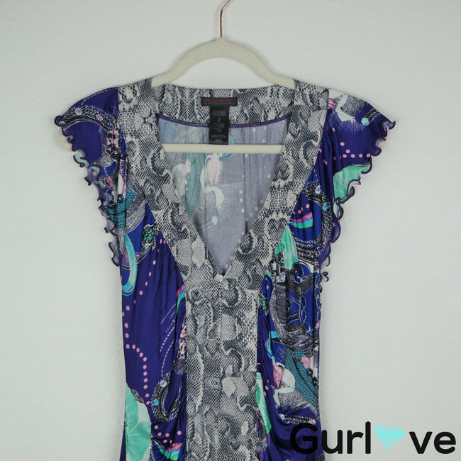 Custo Barcelona Size 2 Silk Blend Snakeprint Dress