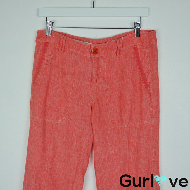 Pilcro and The Letterpress Size 4 Coral Linen Casual Pants