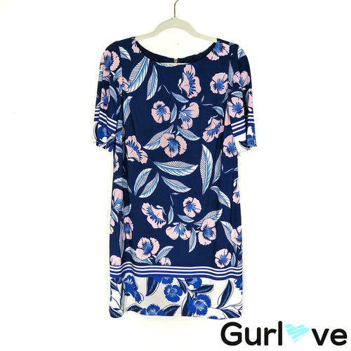 Eliza J Size 12P Blue Floral Casual Dress