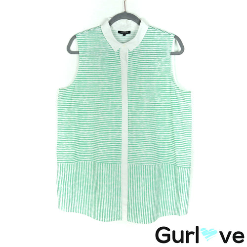 LAFAYETTE 148 NY Size L Green Striped Sleeveless Button Top