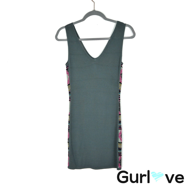 Custo Barcelona Size 1 Gray Metallic Knit Sleeveless Bodycon Dress