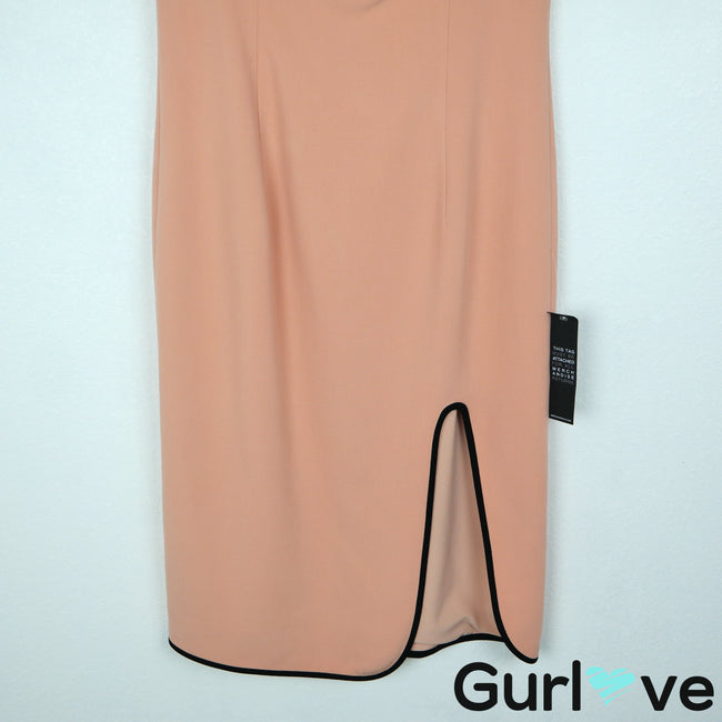 NWT Black Halo Size 10 Peach Black Dalai Sheath Straps Open Leg Dress