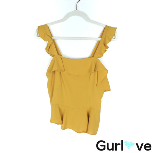Chriselle x Joa Size M Yellow Asymmetrical Peplum Top
