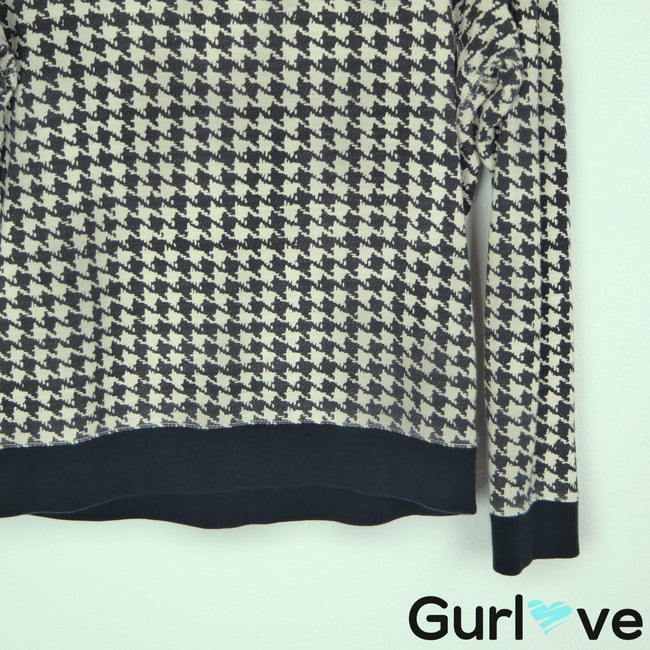 J. Crew Size M Black Cream Houndstooth Pullover Sweater