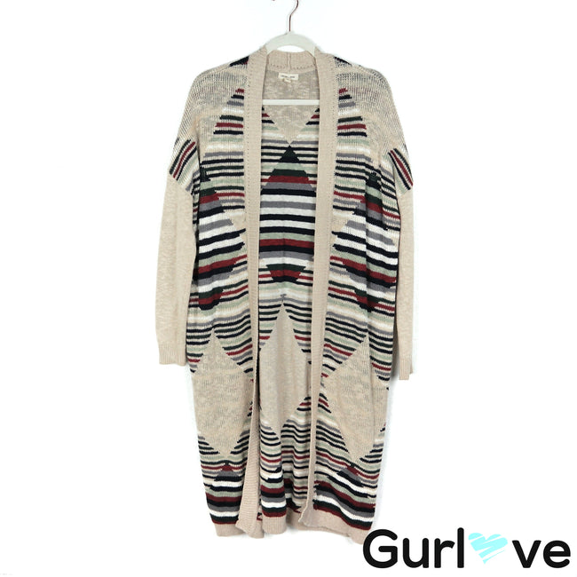 Silence + Noise Size S Cream Striped Knit Long Cardigan Sweater