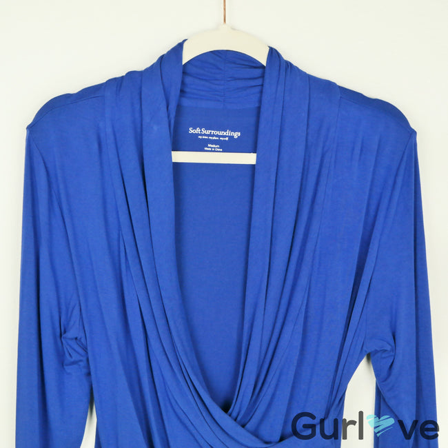 Soft Surroundings Blue Wrap Blouse Size M