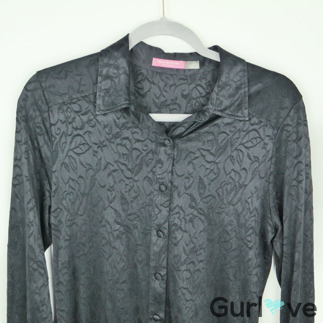 Isaac Mizrahi NY Black Button Sheer Tunic Blouse Size S