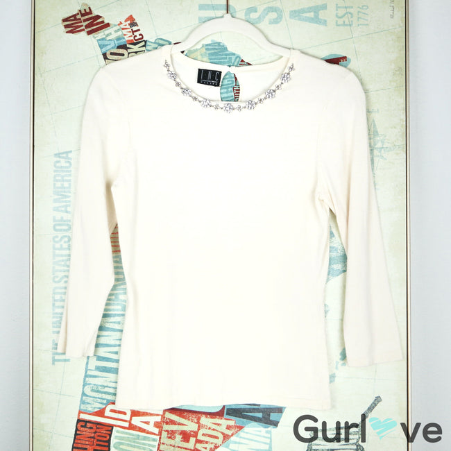 INC International Concepts Cream Short Sleeve Embellishment Top Size XS
