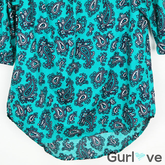 Michael Kors Green Paisley Cold Shoulder Blouse Size XS