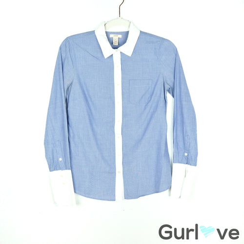 J. Crew Blue French Scuff Button Down Shirt Size 0