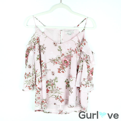 Haute Monde Pink Floral Ruffle Cold Sleeve Top Size M