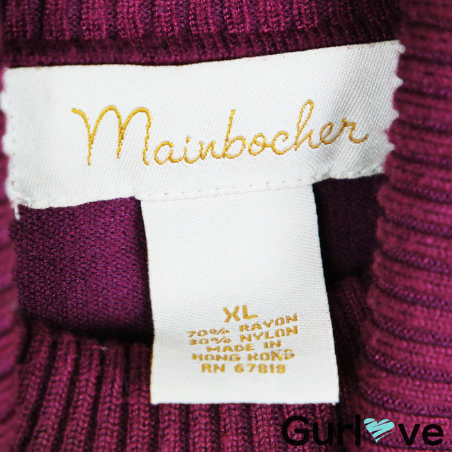 Mainbocher Purple Turtleneck Sweater Size XL