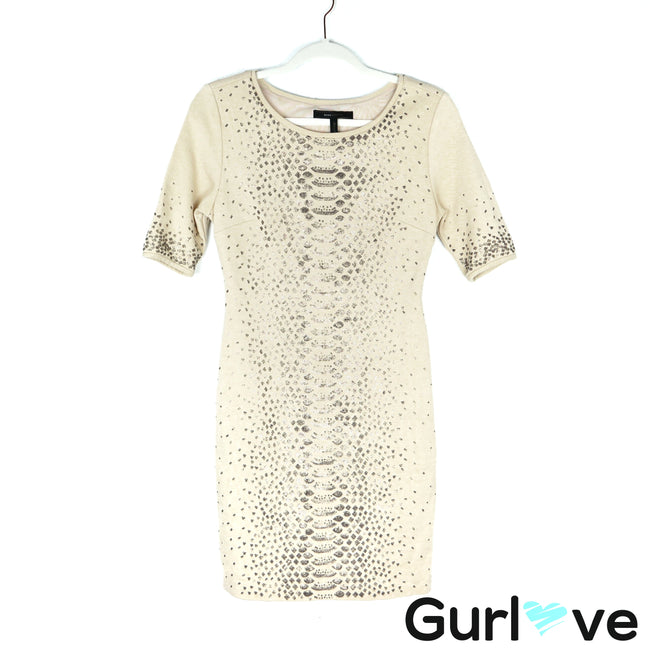 BCBGMax Azria Cream Sequined Fitted Mid Dress Size S