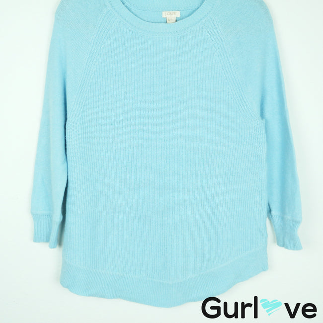 J. Crew Factory Blue Textured Curved Hem Wool Sweater Size S