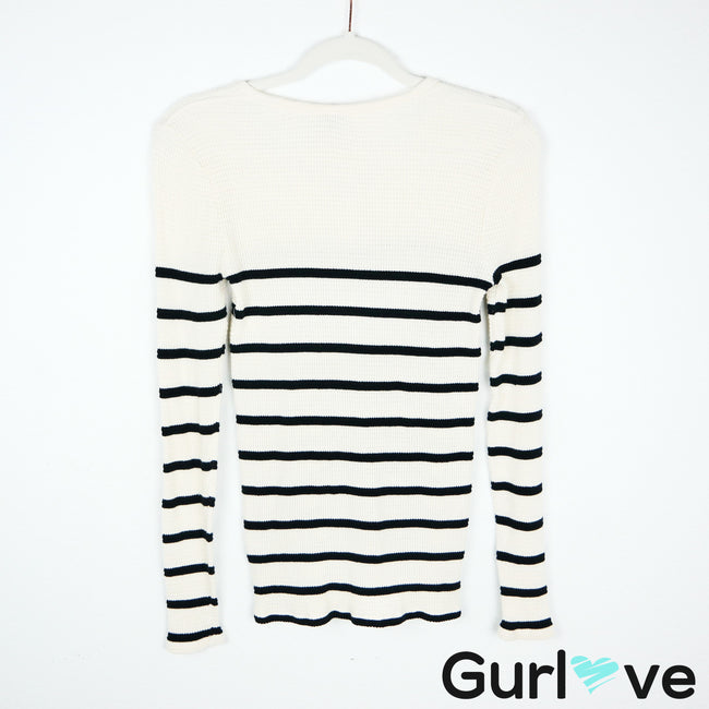 J. Crew Cream Navy Striped Henley Thermal Size XS