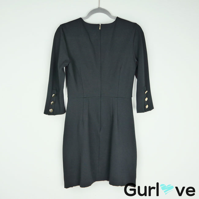 Trina Turk Black Gold Button Ponte Dress Size 4