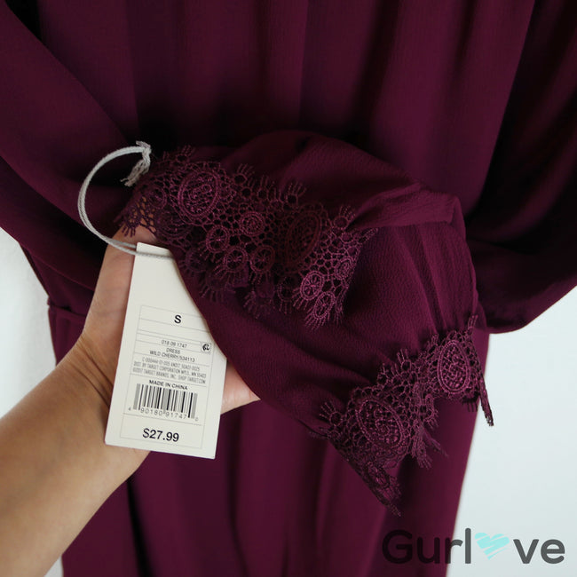 NWT A New Day Burgundy Crochet Size S