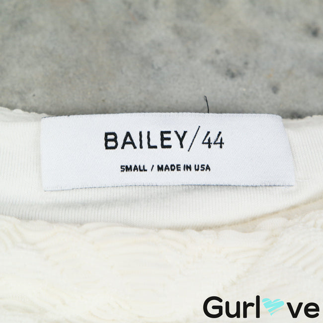 Bailey 44 S White Textured Boat Neck Short Sleeve Blouse