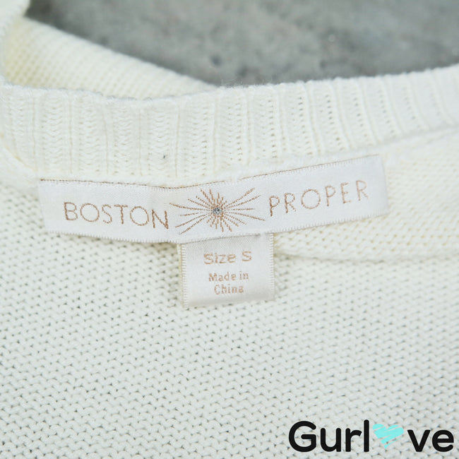 Boston Proper S Ivory Embellishment Round Neck Knit 3/4 Sleeve Pullover Sweater