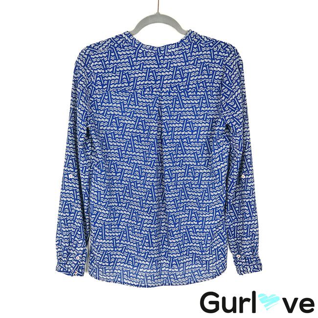 HD in Paris Size 6 Blue Chevron Long Sleeve Half Button Blouse