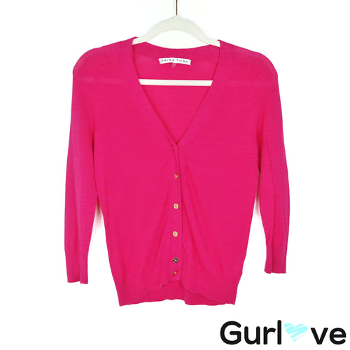 Trina Turk Size S Pink V Neck 3/4 Sleeve Gold Button Cardigan Sweater