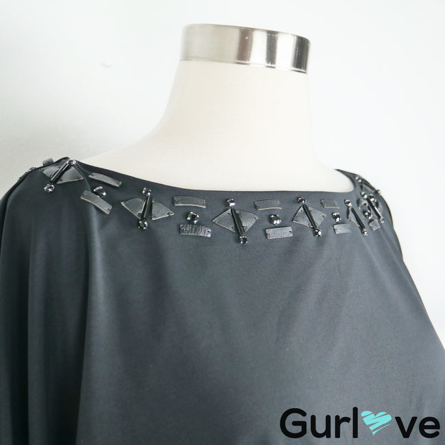 Trina Turk Size 6 Black Faux Leather Neck Detail Dolman Belted Dress
