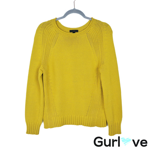J. Crew S Yellow Chunky Knit Pullover Sweater