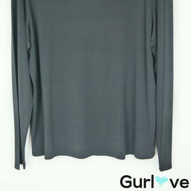 Eileen Fisher 1X Black Silk Long Sleeve Top