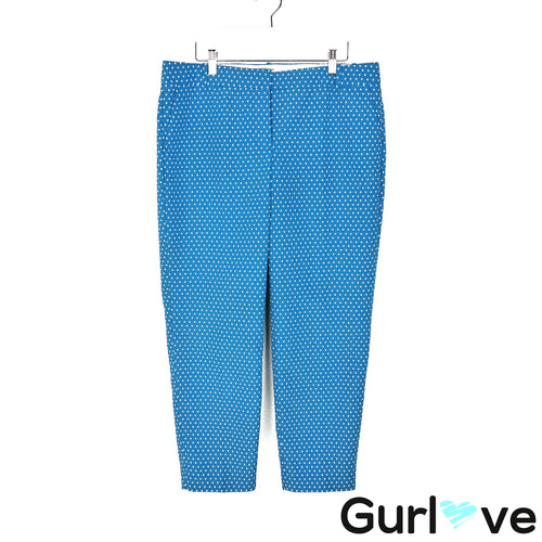 J. Crew 10 Blue Cafe Capri Polka Dot Pants