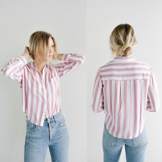 Rails XS Pink Dana Bali Stripes Button Up Shirt