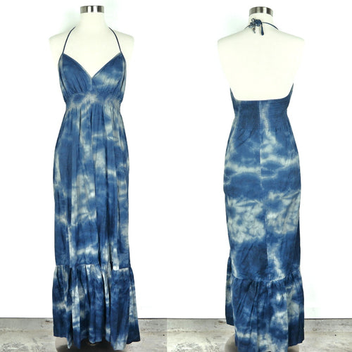 Blue S Bleached Strappy Stretchy Maxi Dress