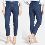 NYDJ Blue Clarissa Anchor Print Fitted Stretch Ankle Jeans Size 4