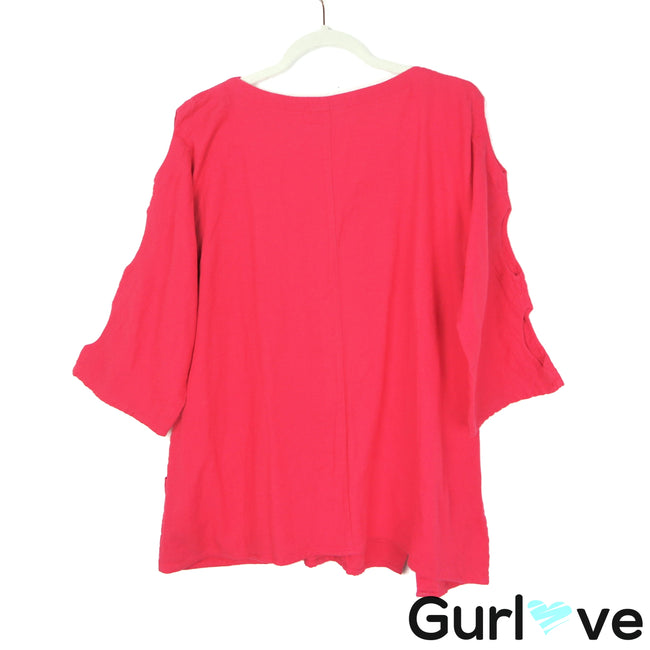 Soft Surroundings S Pink Cotton Open Sleeves V Neck Tunic Top