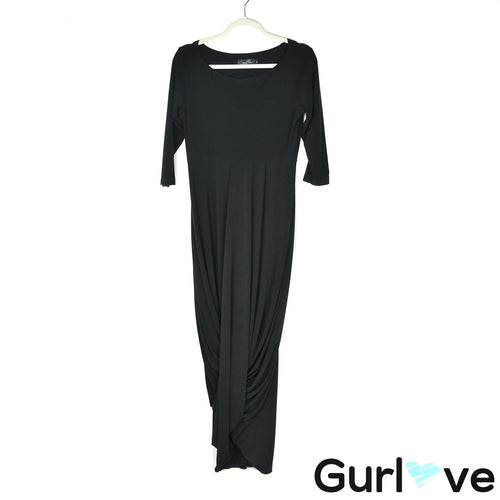 Sympli 6 Black 3/4 Sleeve Round Neck Swag Dress