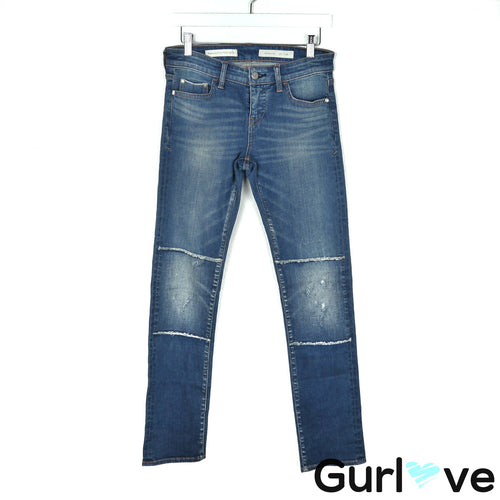 Pilcro 26 Parallel Patched Mid-Rise Straight Leg Jeans
