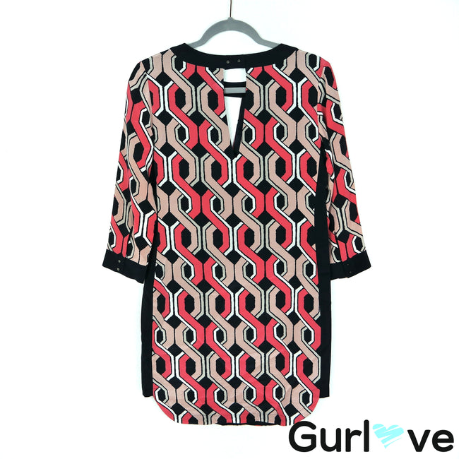 Trina Turk 0 Geometric Print 3/4 Sleeve Silk Mini Dress