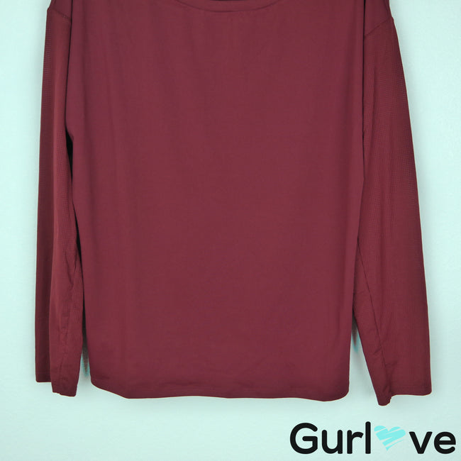 Fabletics L Burgundy Long Sleeve Athletic Top