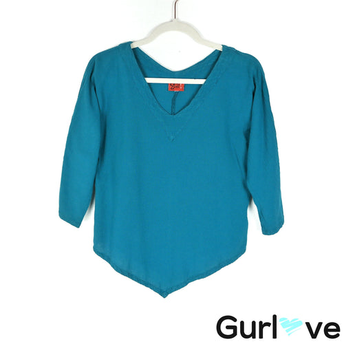 Oh My Gauze S Teal Cotton Tunic Top
