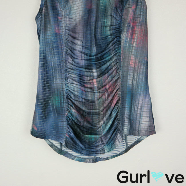 XCVI Movement S Blue Ruched Tank Top Cami
