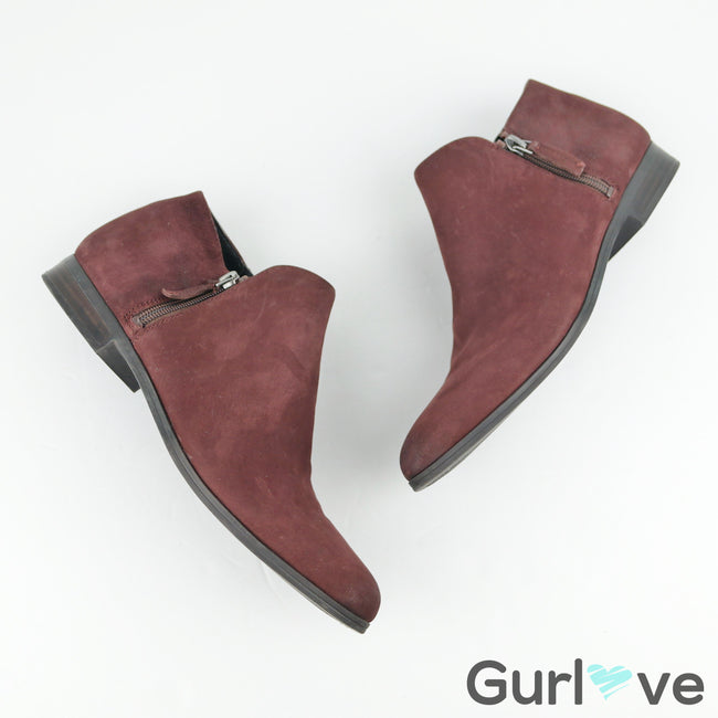 Franco Sarto burgundy Leather Kingston Booties Size 8.5 M
