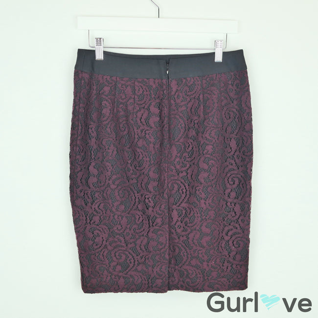 Ann Taylor LOFT Burgundy Lace Pencil Skirt Size 4