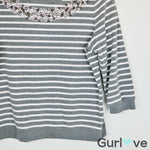 Chico's Sweater Stripes Embellish Neck Gray Size M