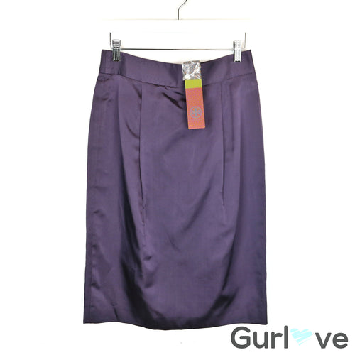 NWT Tory Burch Marsha Purple Silk Pencil Skirt Size 4