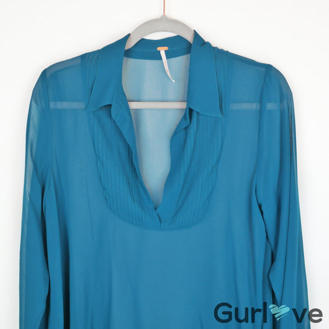Free People Teal Green V Neck Sheer Blouse Size S