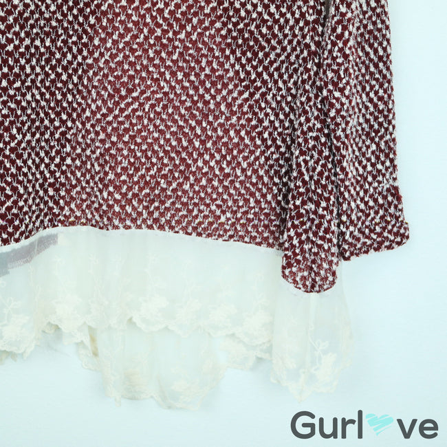 SALE Altar'd State Burgundy Knit Lace Blouse Size S