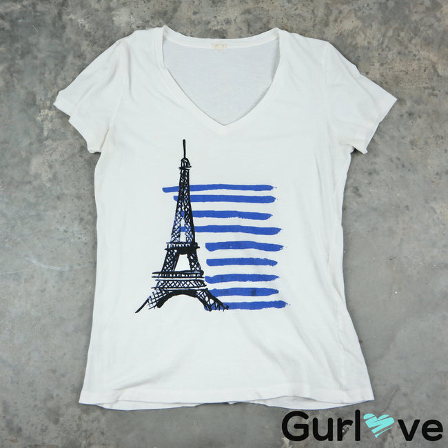 J. Crew Size S White Eiffel Tower T-Shirt