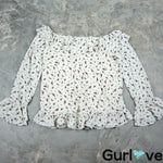 Sabo Skirt Size M Ivory Floral Bell Sleeves Open Shoulder Blouse