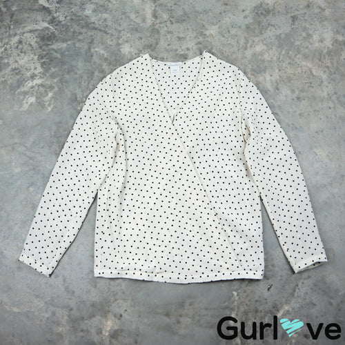 Club Monaco XS Polka Dot Long Sleeve Silk Blouse