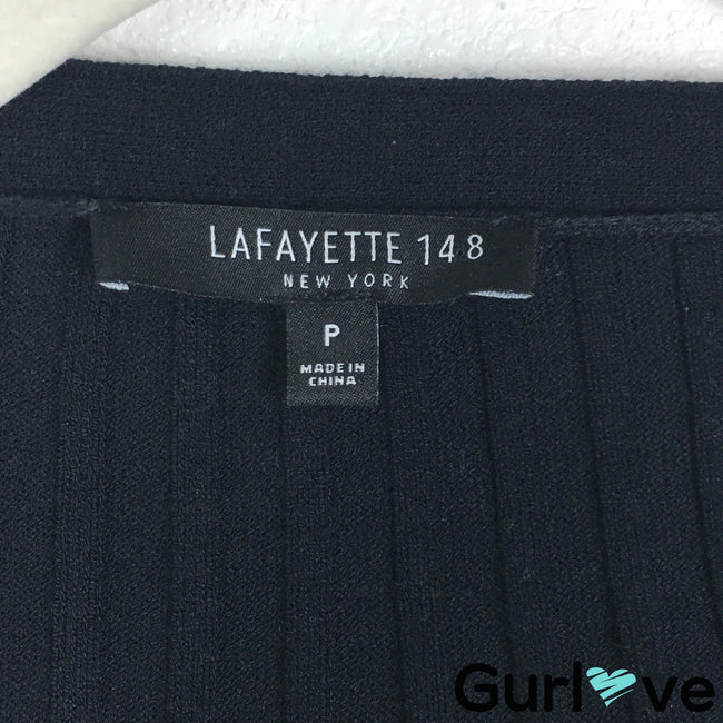 Lafayette 148 NY Size 2 Blue Ribbed Button Cardigan